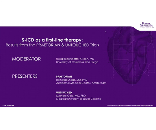 S-ICD First-Line Therapy Results from the PRAETORIAN and UNTOUCHED (2 CE credits) course image